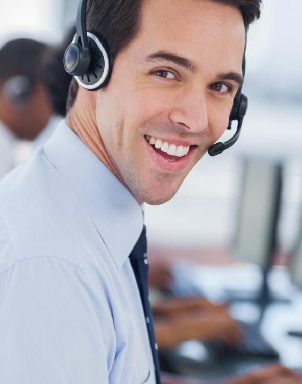 call center man in front of computers